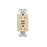 20 Amp Duplex Receptacle w/USB Charger, Tamper Resistant, Ivory