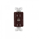 15 Amp Duplex Receptacle w/ USB AC Charger, Tamper Resistant, Brown
