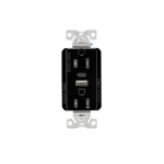 15 Amp Duplex Receptacle w/ USB AC Charger, Tamper Resistant, Black