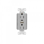 15 Amp Duplex Receptacle w/ USB AC Charger, Tamper Resistant, Gray