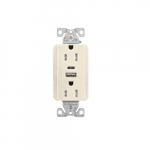 15 Amp Duplex Receptacle w/ USB AC Charger, Tamper Resistant, Light Almond