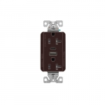 20 Amp Duplex Receptacle w/ USB AC Charger, Tamper Resistant, Brown