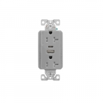 20 Amp Duplex Receptacle w/ USB AC Charger, Tamper Resistant, Light Almond