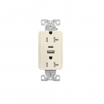 20 Amp Duplex Receptacle w/ USB AC Charger, Tamper Resistant, Gray
