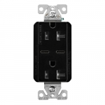 15 Amp Combo USB Type C Charger w/TR Duplex Receptacle, Black