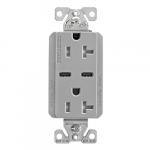15 Amp Combo USB Type C Charger w/TR Duplex Receptacle, Gray