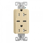 15 Amp Combo USB Type C Charger w/TR Duplex Receptacle, Ivory