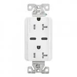 20 Amp Combo USB Type C Charger w/TR Duplex Receptacle, White
