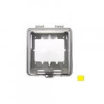 Extra Depth Feed Through Outlet Box & Single Receptacle Cover Plate, 1.39-in Dia., Yellow