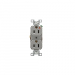 15 Amp Duplex Receptacle, Isolated Ground, Construction Grade, Gray