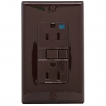 15 Amp Weather Resistant GFCI Receptacle Outlet, Brown