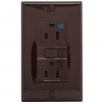 15 Amp Weather Resistant GFCI Receptacle NAFTA-Compliant Outlet, Brown