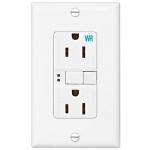 15 Amp Weather Resistant GFCI Receptacle NAFTA-Compliant Outlet, White