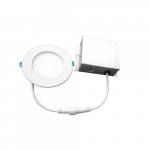 4-in 9W Round LED Downlight w/ Junction Box, Dimmable, 600 lm, 120V, 3000K, White