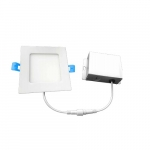 4-in 9W Square LED Downlight w/ Junction Box, Dimmable, 600 lm, 120V, 3000K, White