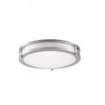 12-in 16W LED Flush Mount Ceiling Light w/ Frosted Lens, 1260lm, 3000K, Brushed Nickel