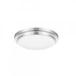 16-in 25W LED Flush Mount Ceiling Light w/Frosted Lens, 2200lm, 120V, 3000K, Silver Bezel