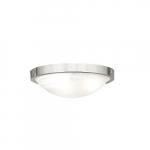12-in 19W LED Flush Mount Ceiling Light w/Alabaster Glass, 1500 lm, 3000K, Brushed Nickel