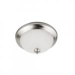11-in 11W LED Flush Mount Ceiling Light w/Acid-Etched Glass, 900lm, 3000K, Brushed Nickel
