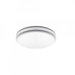 12-in 11W LED Flush Mount Ceiling Light w/ Frosted Lens, 900 lm, 3000K, Silver Bezel