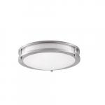 12-in 16W LED Flush Mount Ceiling Light w/ Frosted Lens, 1260 lm, 4000K, Brushed Nickel