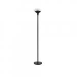 24W LED Torchiere Lamp, Acid Etched Glass, 120V, Matte Black Steel