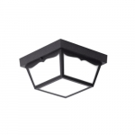 10-in 16W LED Outdoor Ceiling Light w/ Textured Glass, 1260 lm, 120V, 3000K, Black
