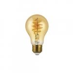 4.5W LED A19 Filament Bulb, Amber Glass, Dimmable, E26, 250 lm, 120V, 2200K