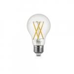 7W LED A19 Filament Bulb, Dimmable, E26, 800 lm, 120V, 2700K