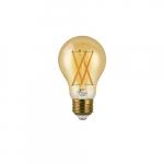 7W LED A19 Filament Bulb, Amber Glass, Dimmable, E26, 600 lm, 120V, 2200K