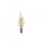 4.5W LED B10 Filament Bulb, Dimmable, E12, 500 lm, 120V, 2700K