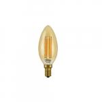 4.5W LED B10 Filament Bulb, Amber Glass, Dimmable, E12, 350 lm, 120V, 2200K