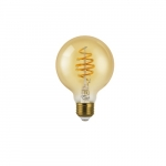 4.5W LED G25 Filament Bulb, Amber Glass, Dimmable, E26, 250 lm, 120V, 2200K