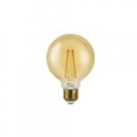 7W LED G25 Filament Bulb, Amber Glass, Dimmable, E26, 600 lm, 120V, 2200K