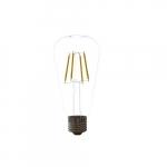5W LED ST19 Filament Bulb, Dimmable, E26, 120V, 2700K