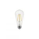 7W ST19 LED Filament Bulb, Dimmable, E26, 800 lm, 2700K