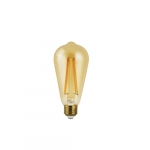 5.5W ST19 LED Filament Bulb, Dimmable, E26, 500 lm, 2200K, Amber