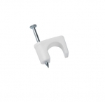 """1/4"""" White Coax Staples w/ Zinc Plated Nail"""