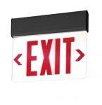 LED Edge Lit Exit Sign, Black Housing w/ Red Letters