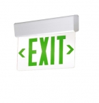 LED Edge Lit Exit Sign, White Housing w/ Green Letters