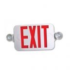 Low Profile LED Emergency Exit Combo, White Housing w/Red Letters