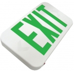 Low Profile LED Emergency Sign, White Housing w/Green Letters