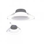8-in 17W LED Retrofit Downlight, 0-10V Dim, Selectable Lumens, 120V-277V, 2700K, White