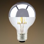 4.5W G25 LED Filament Bulb, Silver Bowl, Dimmable, 2000K
