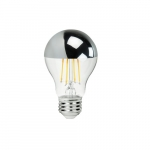7.5W Filament LED A19 Bulb, Dimmable, 700 lm, 2700K, Silver Bowl Finish