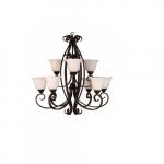 60W El Paso Chandelier, 9-Light, White Glass, Oil Rubbed Bronze