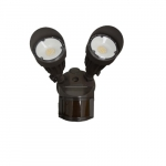 20W LED Flood Light w/ Motion Sensor, Dual Head, Dim, 1900 lm, 3000K
