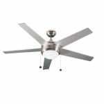 52-in Contemporary Fan, Energy Star, 5-Blade, 5500 CFM, Brushed Nickel