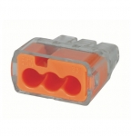 3-Port In-Sure Push-In Wire Connector, 12 AWG, Orange, Box of 100