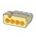 4-Port In-Sure Push-In Wire Connector, 12-20 AWG, Yellow, Box of 5,000
